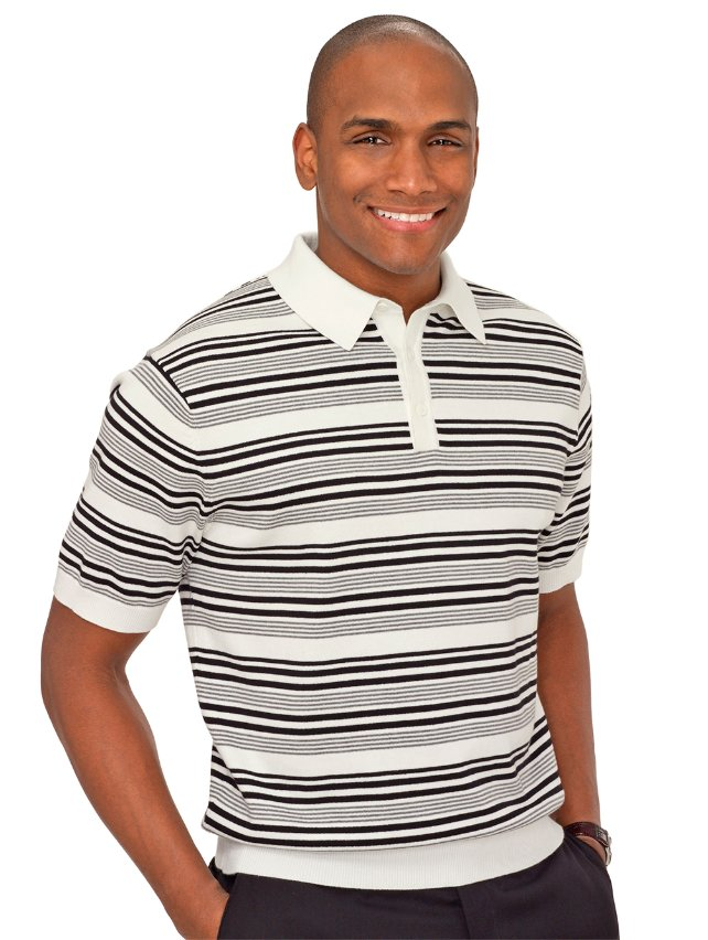 Black & White Cotton Stripe Polo Collar Pullover