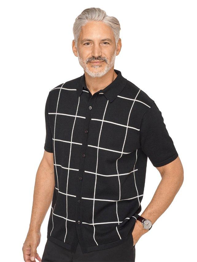 Black & White Cotton Windowpane Polo Collar Button Front