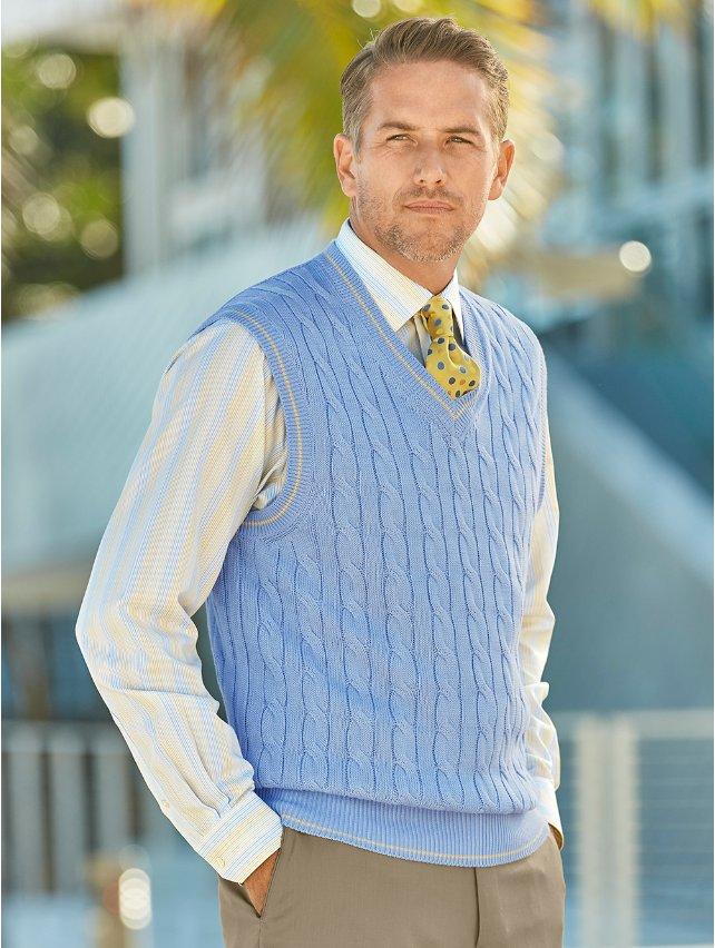 Light Blue Cotton Cable V-Neck Pullover Vest