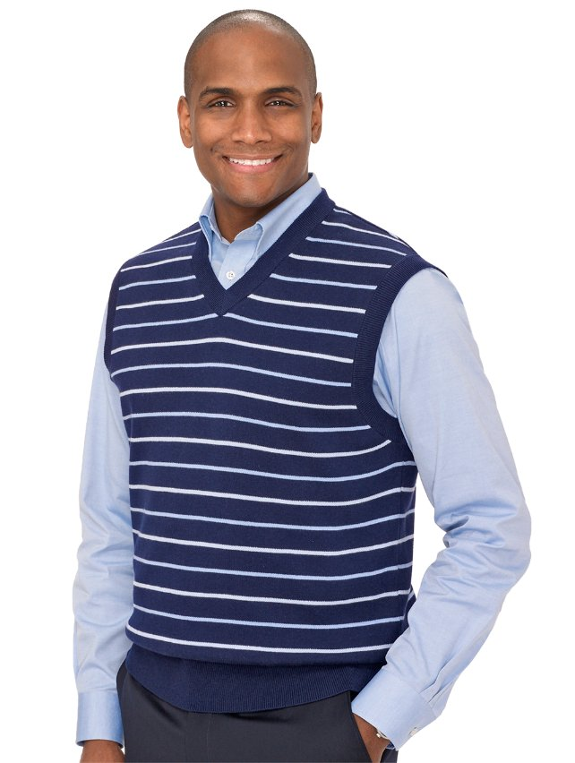 Navy Cotton Birdseye V-Neck Pullover Vest