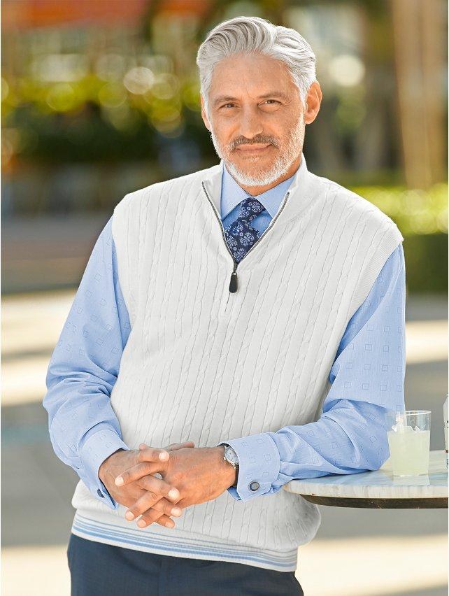 Cream Cotton Cable Zip Neck Pullover Vest
