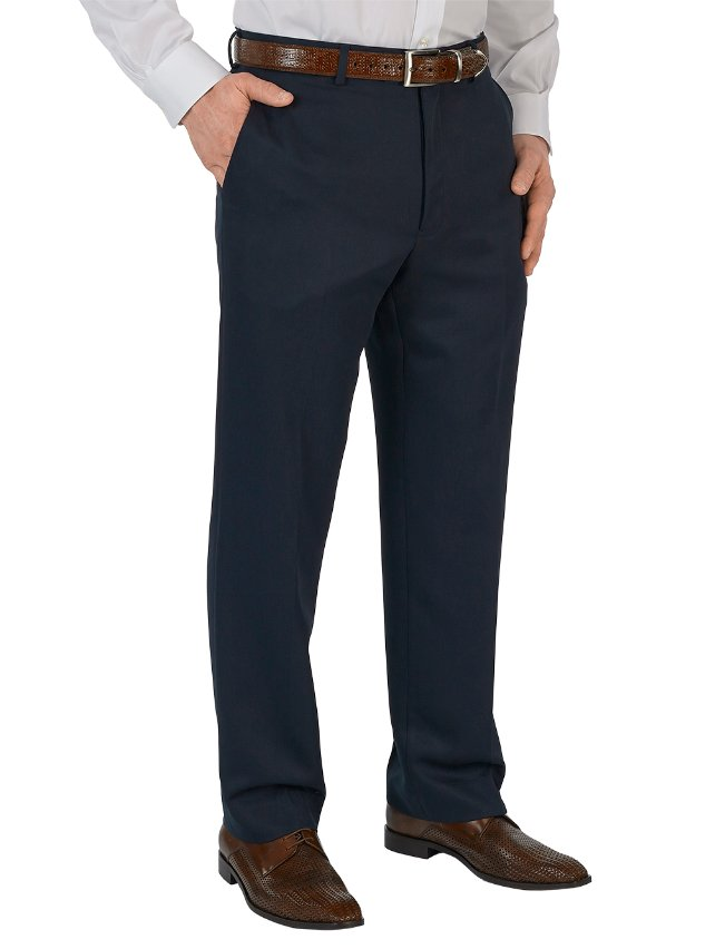 Microfiber Solid Flat Front Pants