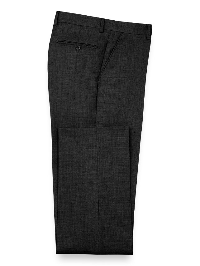 Wool Sharkskin Flat Front Pants