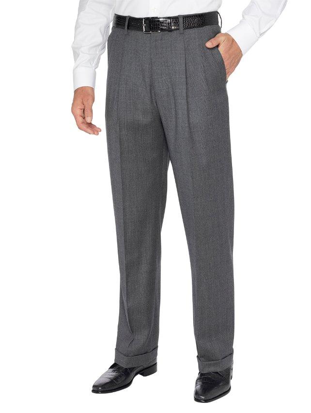 Super 110's Wool & Cashmere Tonal Plaid Pleated Pants