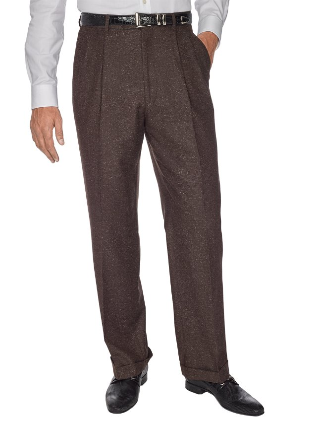 Italian Wool & Silk Pleated Donegal Pants