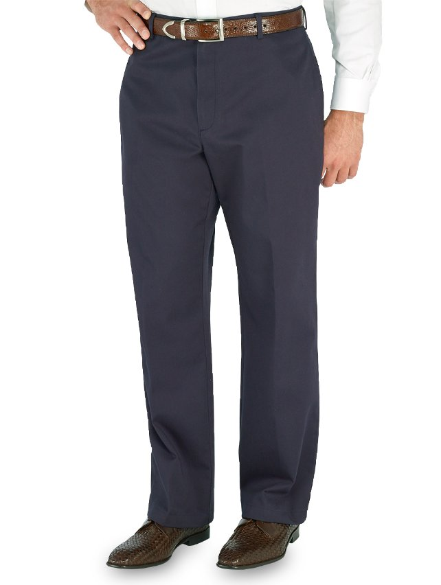 Non-Iron Cotton Chino Flat Front Pants