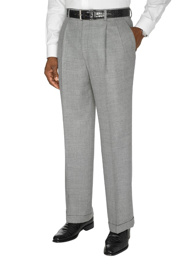 Pure Wool Flannel Pleated Pants