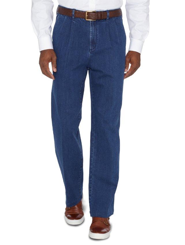 Denim Pleated Pants