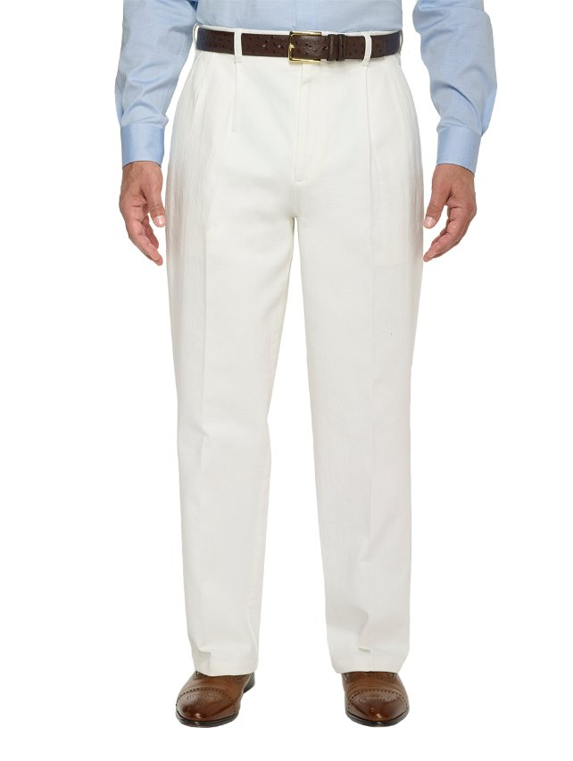 Cotton With A Touch Of Elastane Pleated Denim Pants