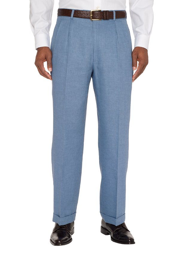 Italian Wool, Linen And Cotton Textured Pleated Pants