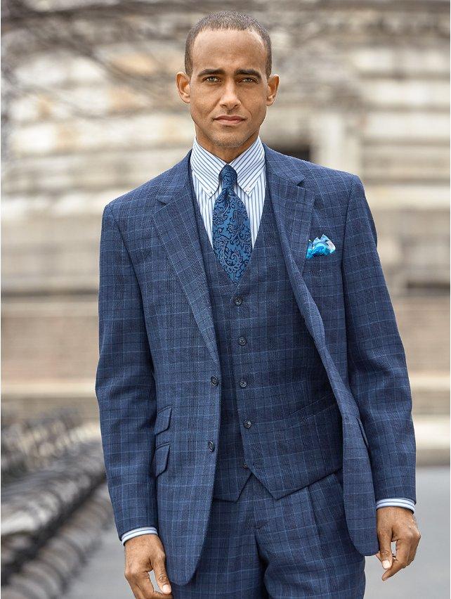 Wool Plaid Suit Jacket