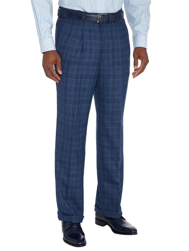 Wool Plaid Pleated Suit Pant