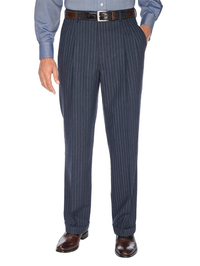 Navy Stripe Pure Wool Pleated Suit Separate Pants