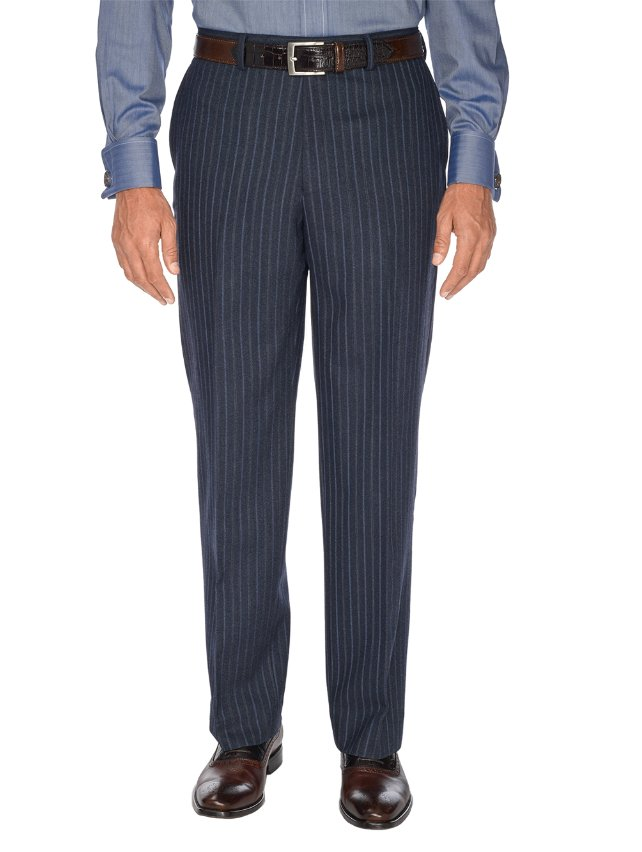 Navy Stripe Pure Wool Flat Front Suit Separate Pants
