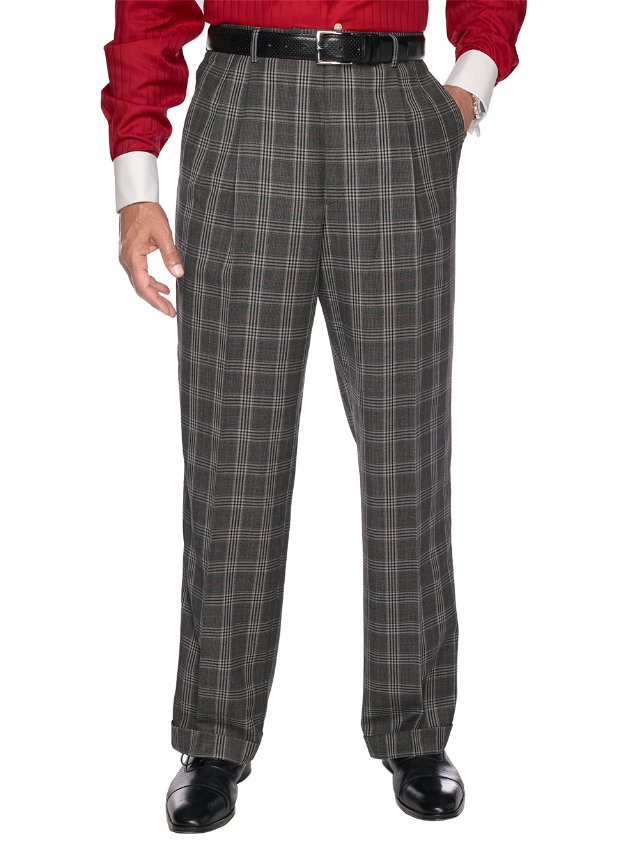 Black & White Pure Wool Glen Plaid Pleated Suit Separate Pants