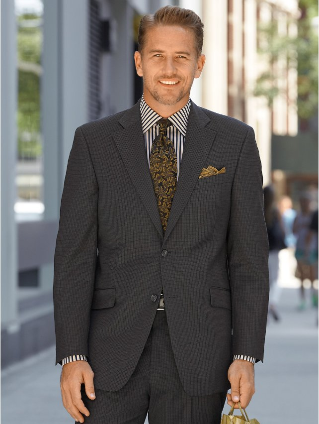 Charcoal Pure Wool Mini Plaid Suit Separate Jacket