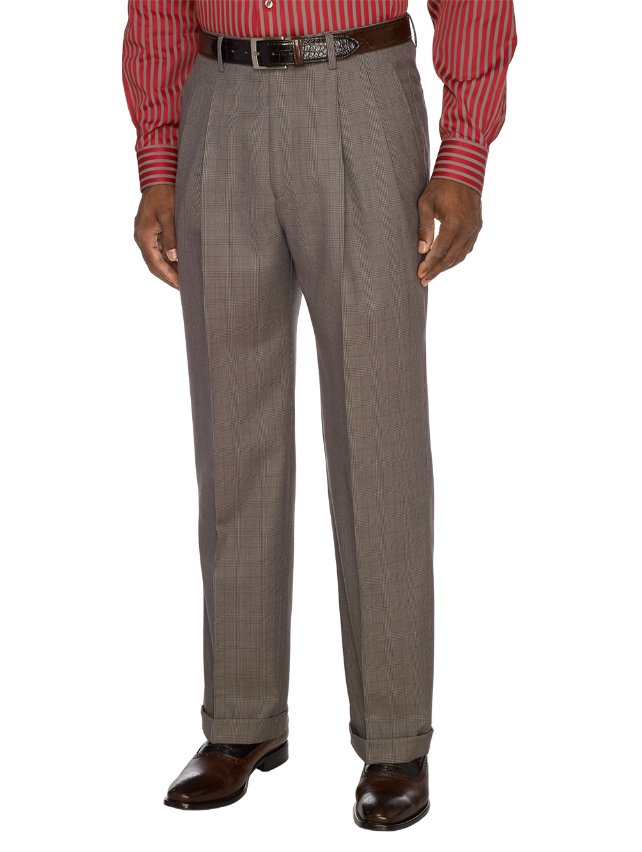 Taupe Pure Wool Plaid Pleated Suit Separate Pants