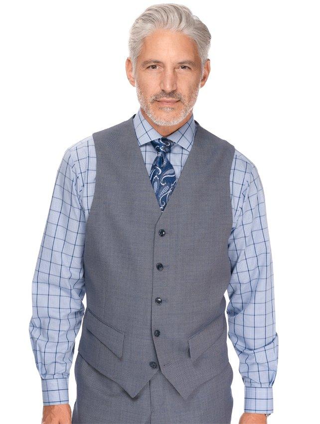 Blue Pindot Pure Wool Suit Separate Vest