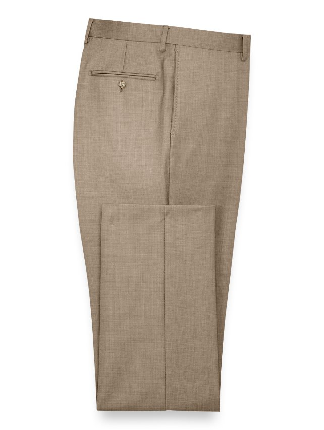 Super 120'S Sharkskin Flat Front Pants