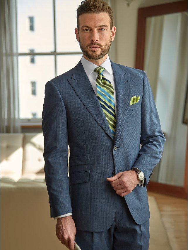 Slate Blue Textured Italian Super 130's Pure Wool Suit Separate Jacket