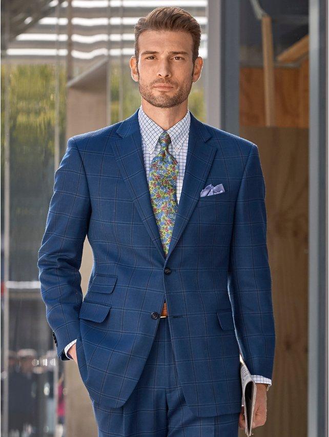 Indigo Windowpane Wool Suit Jacket