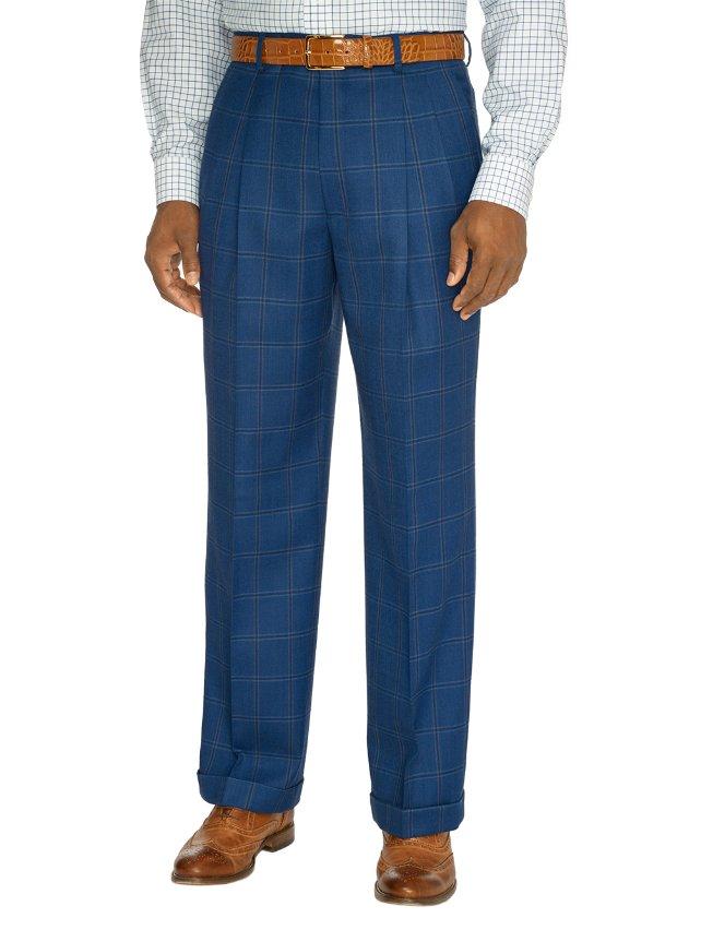 Indigo Wool Pleated Suit Pants