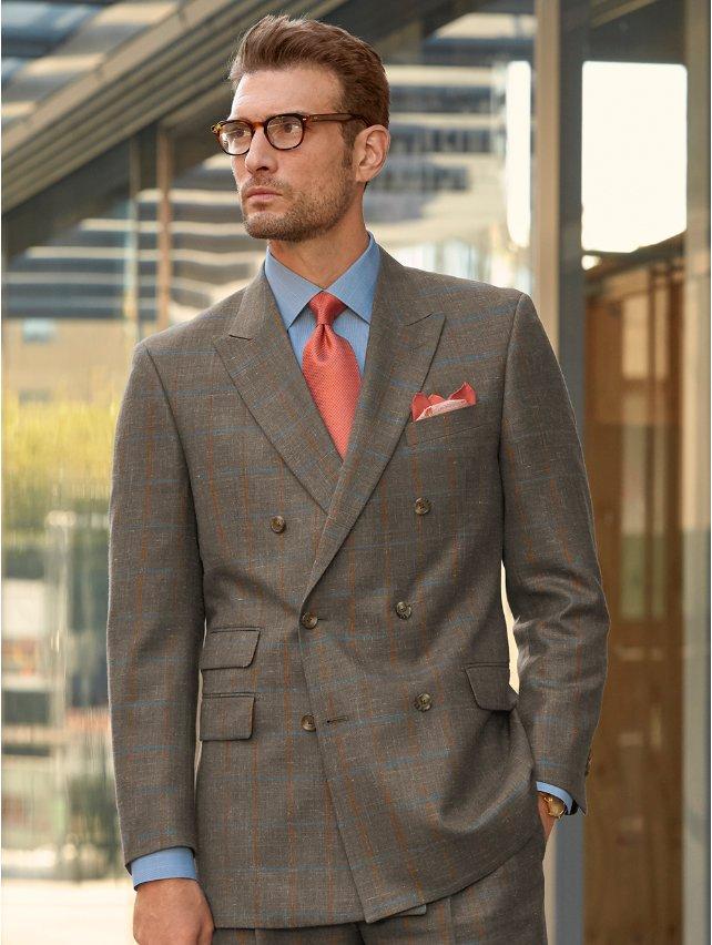 Taupe Windowpane Wool, Silk & Linen Suit Jacket