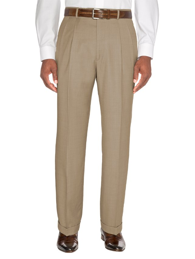Tan Italian Super 100's Wool Pleated Suit Pants