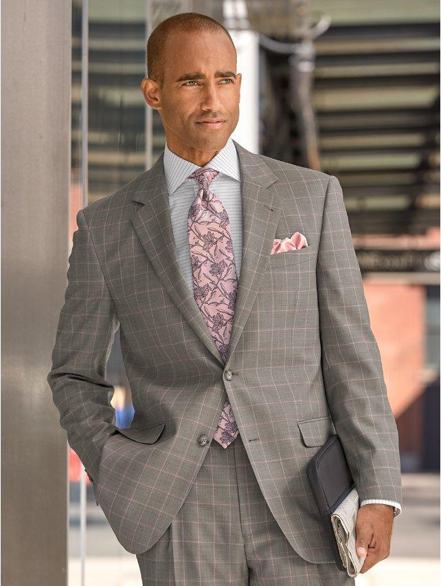 Grey Windowpane Super 120's Sharkskin Wool Suit Jacket
