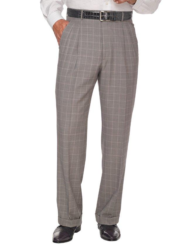 Grey Super 120's Sharkskin Wool Pleated Suit Pants