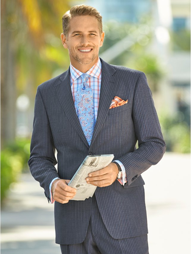 Wool and Linen Stripe Two Button Notch Lapel Jacket