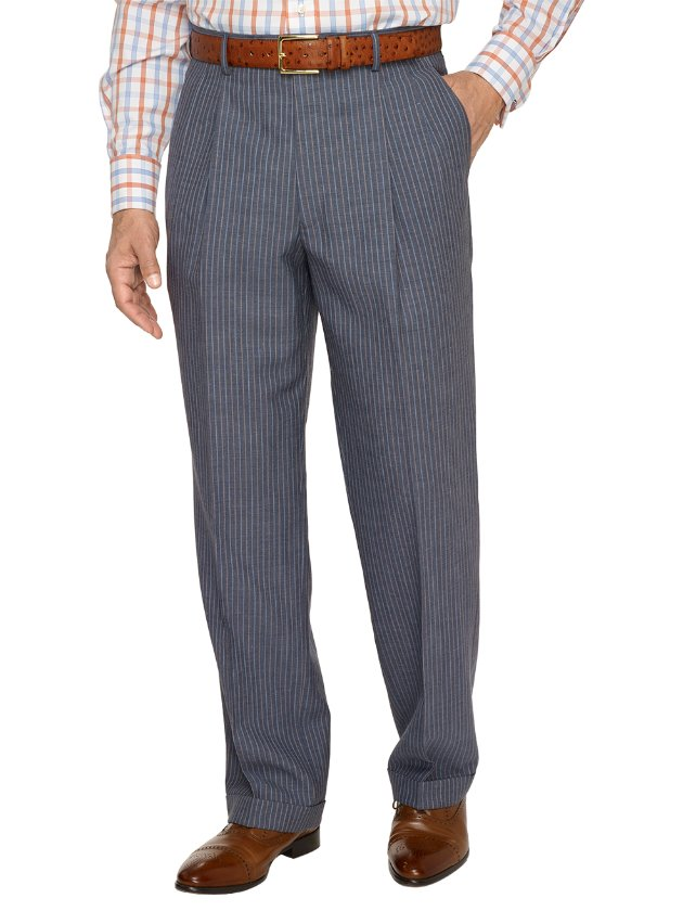 Wool and Linen Stripe Pleated Pants