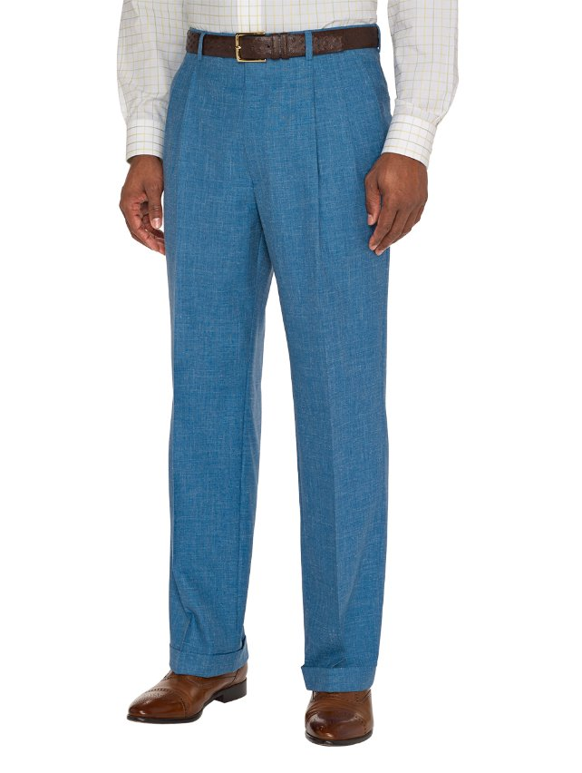 Wool, Silk and Linen Textured Pleated Pants