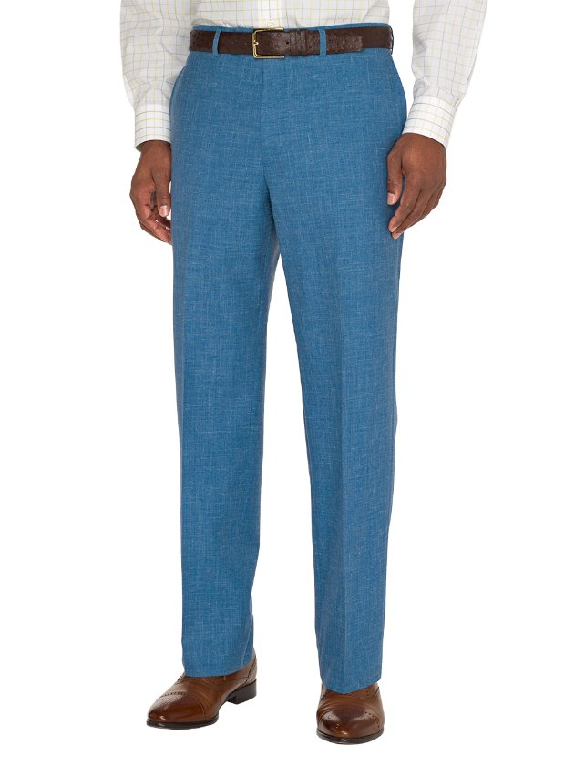 Wool, Silk and Linen Textured Flat Front Pants