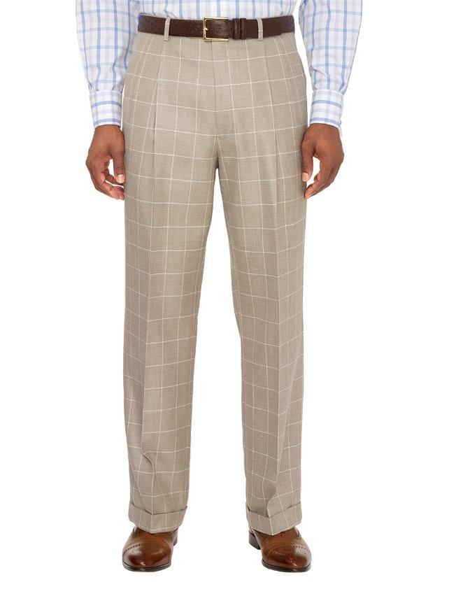 Wool, Silk and Linen Windowpane Pleated Pants