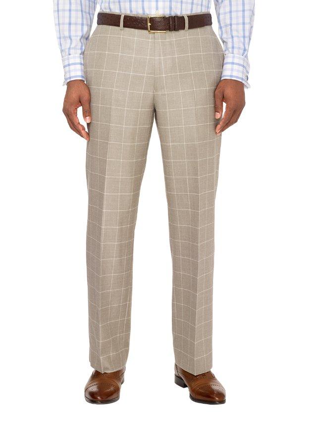 Wool, Silk and Linen Windowpane Flat Front Pants