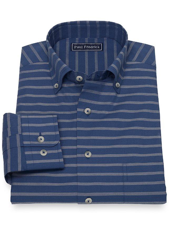 Cotton Horizontal Stripe Sport Shirt