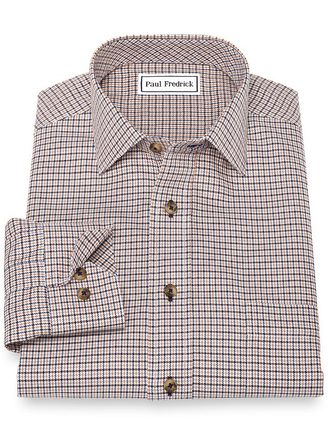 Non-Iron Cotton Houndstooth Sport Shirt