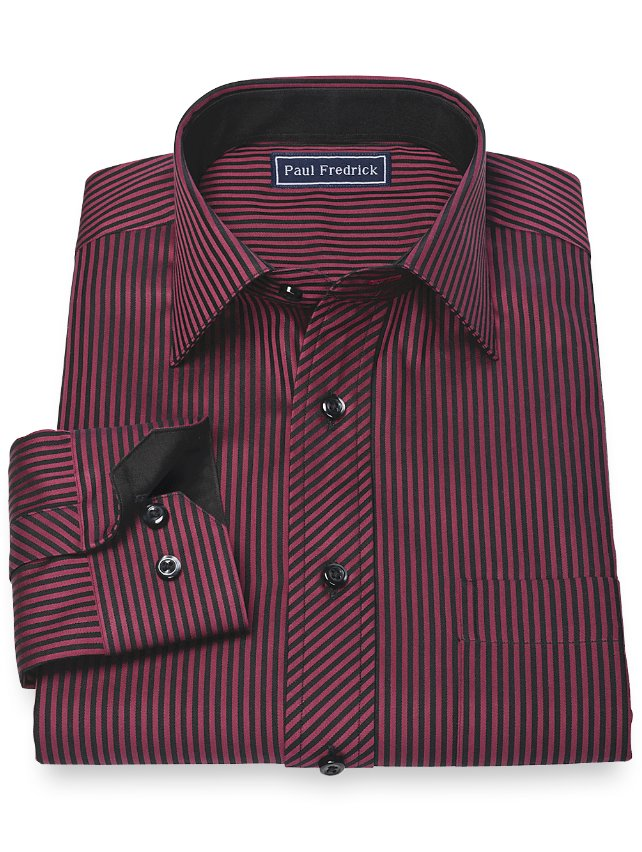 Slim Fit 100% Cotton Stripe Spread Collar Sport Shirt