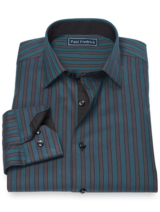 100% Cotton Stripe Jermyn Street Spread Collar Sport Shirt
