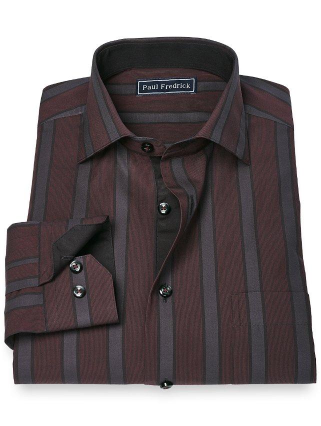 Slim Fit 100% Cotton Stripe Cutaway Collar Sport Shirt