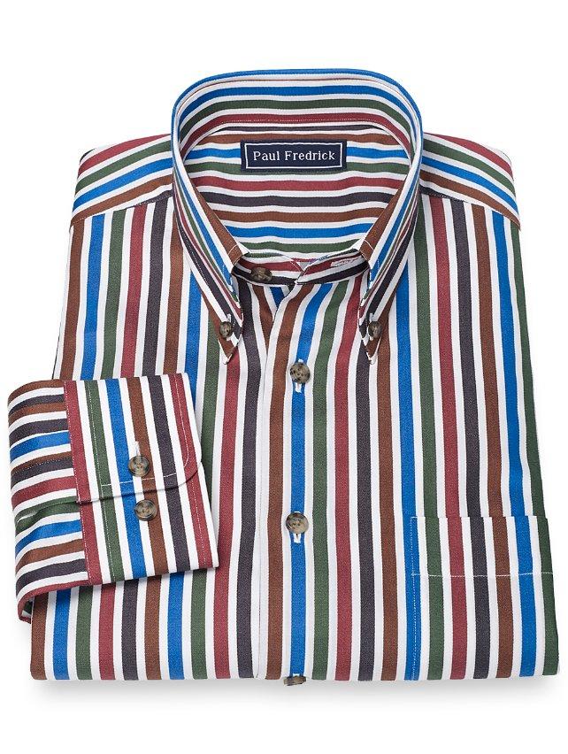 Slim Fit 100% Cotton Stripe Button Down Collar Sport Shirt