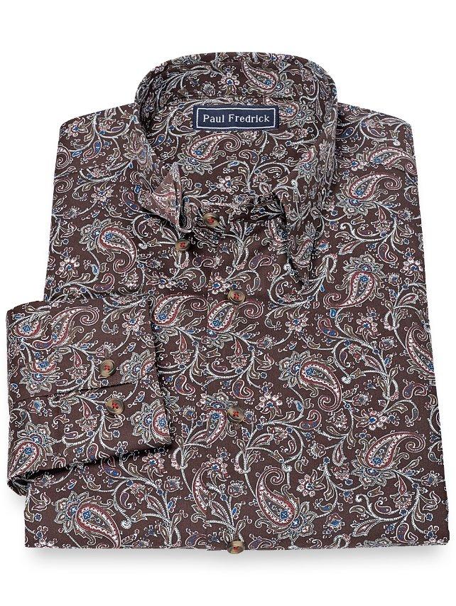 Slim Fit 100% Cotton Paisley Hidden Button Down Collar Sport Shirt