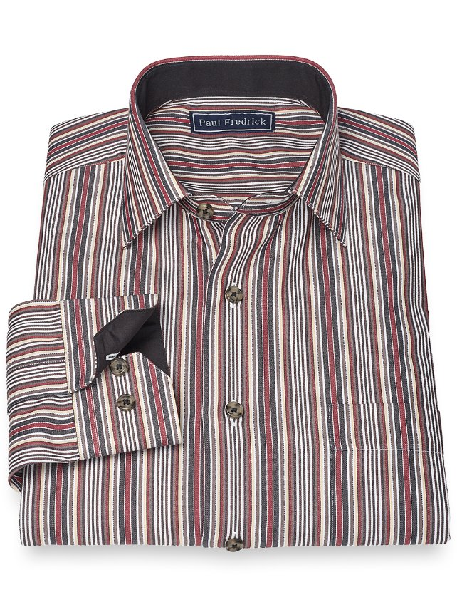 Slim Fit 100% Cotton Stripe Jermyn Street Spread Collar Sport Shirt