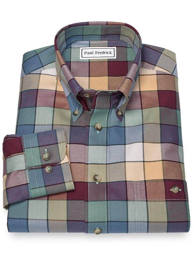 Non-Iron 100% Cotton Buffalo Plaid Button Down Sport Shirt