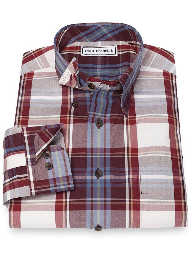 Non-Iron 100% Cotton Plaid Hidden Button Down Collar Sport Shirt