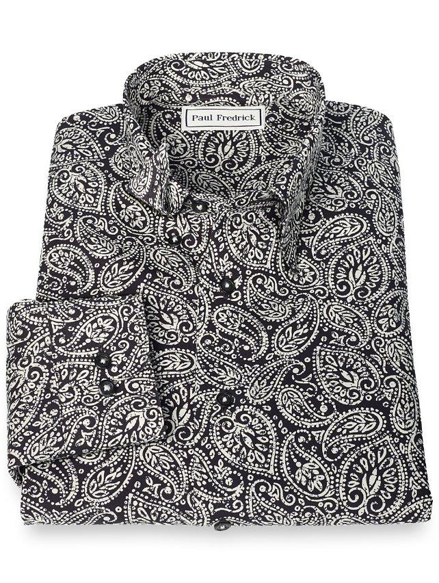 Non-Iron Supima Cotton Paisley Hidden Button Down Collar Sport Shirt