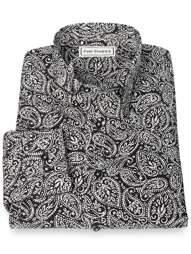 Slim Fit Non-Iron Supima Cotton Paisley Hidden Button Down Collar Sport Shirt