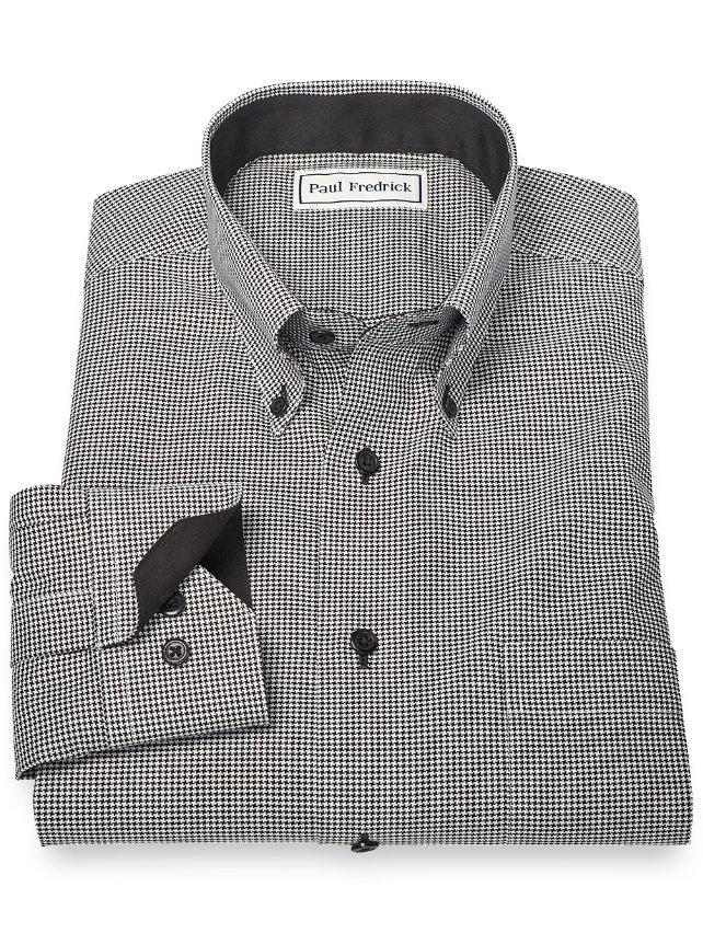 Non-Iron 100% Cotton Houndstooth Button Down Collar Sport Shirt