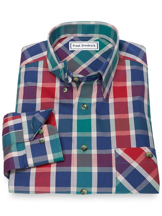 Slim Fit Non-Iron 100% Cotton Plaid Hidden Button Down Collar Sport Shirt